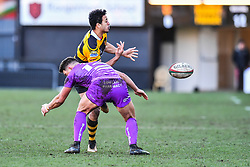 Newport's Jon Morris is tackled by Ebbw Vale's Stefan Thomas - Mandatory by-line: Craig Thomas/Replay images - 04/02/2018 - RUGBY - Rodney Parade - Newport, Wales - Newport v Ebbw Vale - Principality Premiership