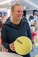Caroline Wozniacki (Denmark) signing autographs at the 2017 WTA Ericsson Open in Båstad, Sweden, July 26, 2017. Photo Credit: Katja Boll/EVENTMEDIA.
