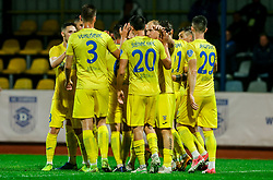 Players of Domzale celebrate after scoring third goal of Domzale during football match between NK Domzale and NK Koper in 34th Round of Prva liga Telekom Slovenije 2020/21, on May 16, 2021 in Sports park Domzale, Domzale, Slovenia. Photo by Vid Ponikvar / Sportida