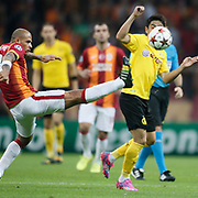 Galatasaray's Felipe Melo (L) during their UEFA Champions League Group Stage Group D soccer match Galatasaray between Borussia Dortmund at the Ali Sami Yen Spor Kompleksi in Istanbul, Turkey on Wednesday 22 October 2014. Photo by Aykut AKICI/TURKPIX