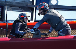Handout photo dated 8-10-2021 provided by SailingGP of Hannah Mills and Ben Ainslie of Great Britain SailGP Team on the Team F50 catamaran work on the grinding pedestal during the Spain SailGP, Event 6, Season 2 in Cadiz, Andalucia, Spain. Issue date: Friday October 8, 2021.