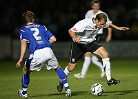 Photo: Rich Eaton.<br /> <br /> Hereford United v Leicester City. Carling Cup. 19/09/2006. Trent McClenahan of Hereford right takes on the Leicester defence