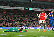 Arsenal's Danny Welbeck looks on dejected as Manchester United's David De Gea makes a save<br /> <br /> Barclays Premier League- Arsenal vs Manchester United - Emirates Stadium - England - 22nd November 2014 - Picture David Klein/Sportimage