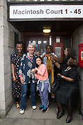 Kate Macintosh with family and residents at 269 Leigham Court Road sheltered housing  on 19th June 2016 in South London, United Kingdom. Macintosh Court Formally 269 Leigham Court Road was designed by architect Kate Macintosh, and brutalist in design. In May 2015, residents campaigned to Historic England and the building was awarded Grade II listing. In June 2016, the council announced plans to regenerate the estate, rather than rebuild.