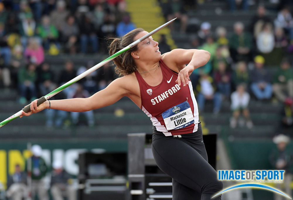 Jun 8, 2017; Eugene, OR, USA; Makenzie Little of Stanford places fourth in the women's javelin at 181-6 (55.32m) during the NCAA Track and Field Championships at Hayward Field.