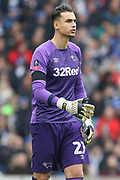 Derby County goalkeeper Kelle Roos (21) during the The FA Cup 5th round match between Brighton and Hove Albion and Derby County at the American Express Community Stadium, Brighton and Hove, England on 16 February 2019.