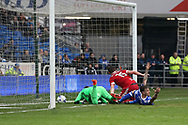 Lukas Jutkiewicz of Birmingham city gets the last touch as he scores his teams 1st goal to equalise at 1-1. . EFL Skybet championship match, Cardiff city v Birmingham City at the Cardiff City Stadium in Cardiff, South Wales on Saturday 11th March 2017.<br /> pic by Andrew Orchard, Andrew Orchard sports photography.
