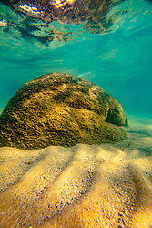 """""""Boulders Under Lake Tahoe 10"""" - Underwater photograph of minnows and boulders taken while swimming at Whale Beach, Lake Tahoe."""