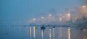 The Ganges river at Varanasi at dawn (India)