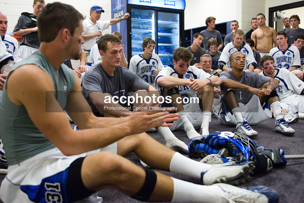 26 May 2007: Duke Blue Devils in the locker room after a 12-11 win over the Cornell Big Red at M&T Bank Stadium during the NCAA semifinals in Baltimore, MD.