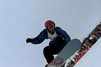 Snowboard, NM snøbrett halfpipe Geilo mars 2000. Espen Arvesen.