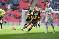 Morpeth Town Ben Sayer shoots at goal during the FA Vase match between Hereford FC  and Morpeth Town at Wembley Stadium, London, England on 22 May 2016. Photo by Dennis Goodwin.