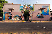 A street art mural by NEVERCREW entitled, See through/See beyond on display in the Lodhi Colony area of New Delhi designated Indias first ever public art district.