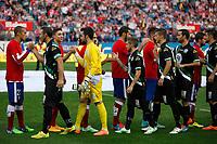 Atletico de Madrid´s players cheer Cordoba´s players during 2014-15 La Liga match between Atletico de Madrid and Cordoba at Vicente Calderon stadium in Madrid, Spain. November 01, 2014. (ALTERPHOTOS/Victor Blanco)