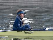 Putney, London, Varsity, Tideway Week, 3rd April 2019, OUWBC, Blue Boat, cox, Eleanor SHEARER, Oxford Cambridge Media week, Championship Course,<br /> [Mandatory Credit: Patrick WHITE], Wednesday,  03.04.19,