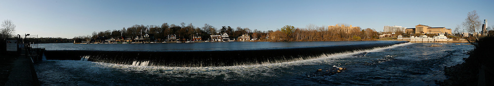 A Panorama of Boathouse Row in Philadelphia, Pennsylvania on Tuesday March 29th, 2011. (Photo By Brian Garfinkel)