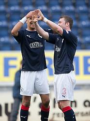 Falkirk's Farid El Alagui and Thomas Scobbie..Falkirk 2 v 5 Livingston, 24/3/2012. .©Michael Schofield.