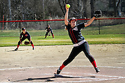 Amanda Stromquist pitches during a Grinnell College softball game.