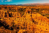 Badlands from Mirador del Fin del Mundo, near Guadix, Granada Province, Andalusia, Spain.