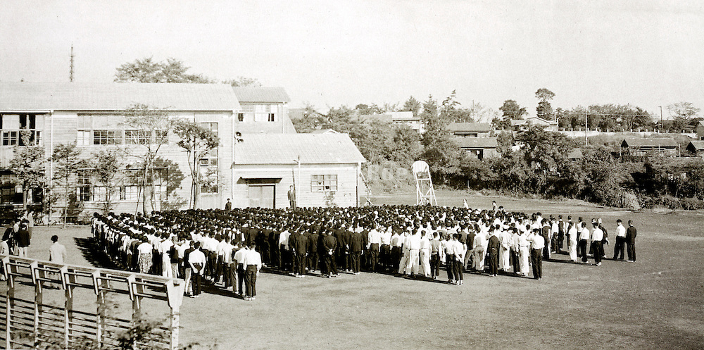 school yard with lined up students Japan 1958