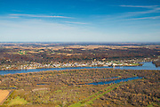 Aerial view of Wisconsin farm lands and Casseville  looking eastward from the Iowa side of the Mississippi River on a beautiful autumn day.