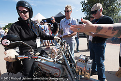 Eric Trapp of Frankfurt, Germany rides over the finish line in Dodge City, KS on his 1916 Harley-Davidson twin during the Motorcycle Cannonball Race of the Century. Stage-8 from Wichita, KS to Dodge City, KS. USA. Saturday September 17, 2016. Photography ©2016 Michael Lichter.