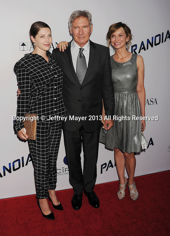 LOS ANGELES, CA- AUGUST 08: Actors Georgia Ford, Harrison Ford and Calista Flockhart  arrive at the 'Paranoia' - Los Angeles Premiere at DGA Theater on August 8, 2013 in Los Angeles, California.