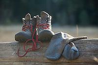 Still life of hiking  boots. Lake Tahoe, CA