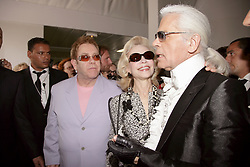 British singer Elton John at the Presentation of the 2007 Fall-Winter Haute-Couture collection by German designer Karl Lagerfeld for French fashion house Chanel at 'Pelouse de Saint-Cloud' near Paris, France, on July 6, 2006. Photo by Nebinger-Taamallah/ABACAPRESS.COM