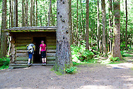Hiking the Tillamook Head trail from Seaside to Cannon Beach,  Oregon.  A primitive camping area for backpackers approximately 1.5 miles from the trailhead at Indian Beach.