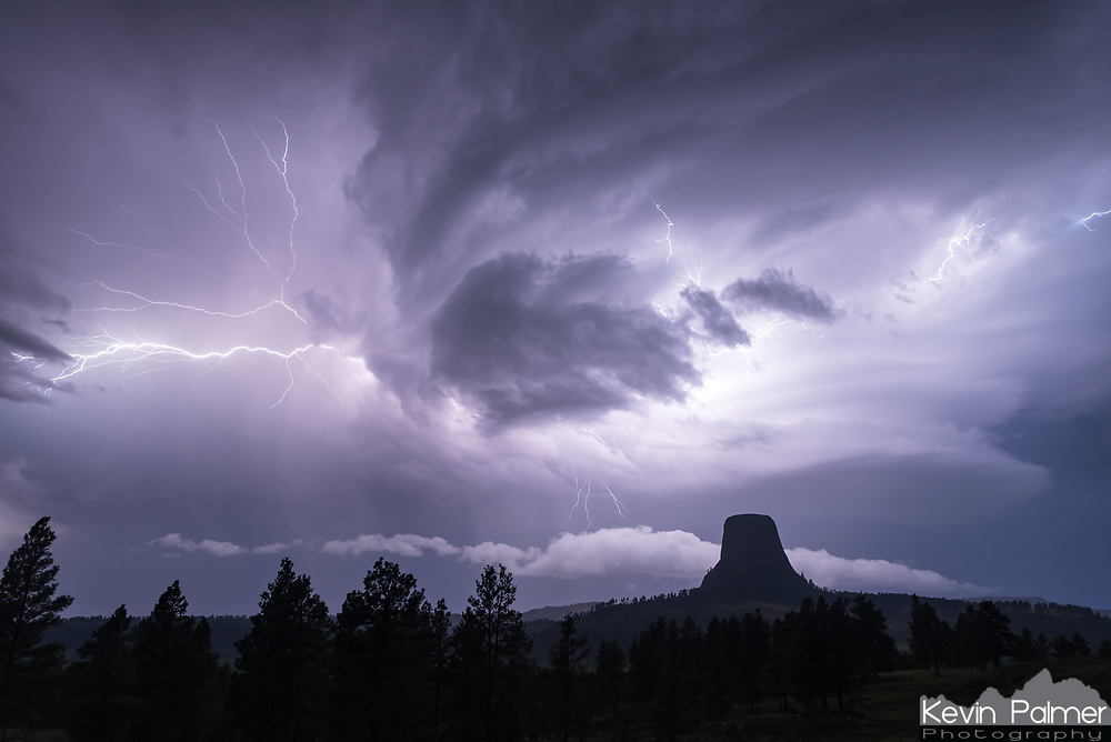 For over 4 hours thunderstorms moved past Devils Tower, which was not even in the forecast. The lightning was difficult to expose for, because some flashes were super bright while others were dim. But this was my favorite shot of lightning jumping out from behind the clouds.