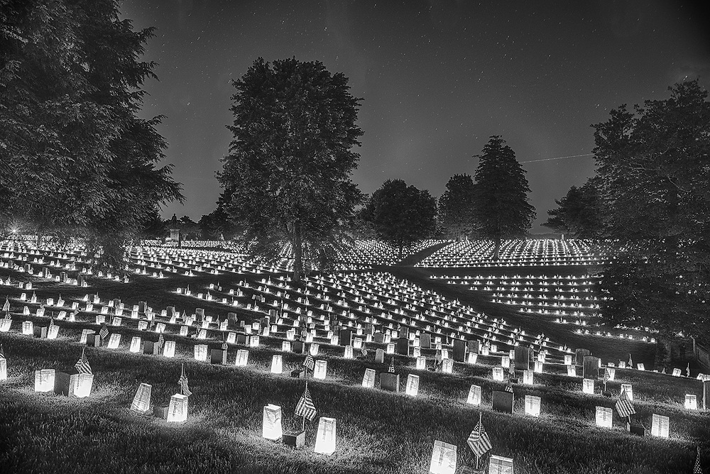 Night time luminaria display at the Fredericksburg National Cemetery on Memorial Day.