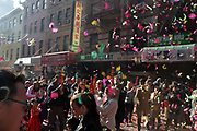 NEW YORK, NEW YORK- FEBRUARY 5: New Yorkers, Tourists and Chinese-American community celebrate the Lunar new year of the Pig with fireworks, drumming and families along the streets of Chinatown in New York City on February 5, 2019 in New York City.  Credit: Terrence Jennings/terrencejennings.com