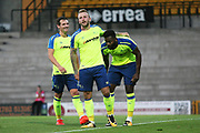 Johnny Russell celebrates Darren Bent's Penalty goal during the Pre-Season Friendly match between Port Vale and Derby County at Vale Park, Burslem, England on 18 July 2017. Photo by John Potts.