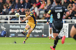 Adrian Jarvis of Bristol Rugby kicks a conversion - Rogan Thomson/JMP - 08/10/2016 - RUGBY UNION - Kingston Park - Newcastle, England - Newcastle Falcons v Bristol Rugby - Aviva Premiership.