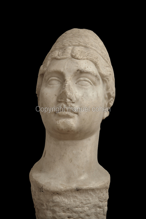 Portrait bust of a married woman, Roman, from the Museum Of Apollonia near the Ardenica monastery in Fier, Albania. The museum was opened in 1958 to display artefacts found at the nearby Greek Illyrian archaeological site of Apollonia. Apollonia was an ancient Greek city in Illyria, founded in 588 BC by Greek colonists from Corfu and Corinth. It flourished in the Roman period and declined from the 3rd century AD when its harbour was silted up due to an earthquake. Picture by Manuel Cohen