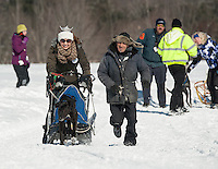 """Miss Lakes Region Kendall Wipff takes """"a one dog dash"""" prior to the start of Sunday's Open race at Laconia's 85th annual World Championship Sled Dog Derby.  (Karen Bobotas/for the Laconia Daily Sun)"""