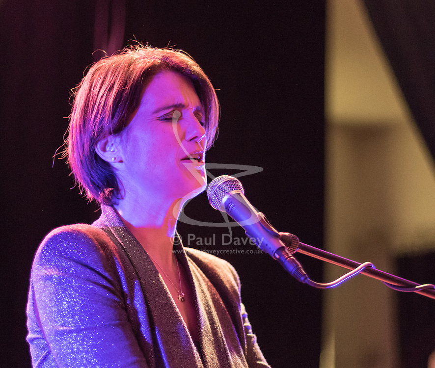 Old Town Hall, Stratford, London - 28 November 2015. Singers Marc Almond, Ronan Parke, Heather Peace and Asifa Lahore headline the Peter Tatchell Foundation's inaugural Equality Ball, a fundraiser for the foundation's LGBTI and human rights work, with guest of honour Sir Ian McKellen  joined by Paul O'Grady, Rupert Everett and Michael Cashman. PICTURED:  Heather Peace during soundcheck. //// FOR LICENCING CONTACT: paul@pauldaveycreative.co.uk TEL:+44 (0) 7966 016 296 or +44 (0) 20 8969 6875. ©2015 Paul R Davey. All rights reserved.