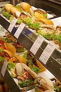 Berlin, Germany. Kurfürstendamm. KaDeWe (Kaufhaus des Westens). Fish and seafood sandwiches.