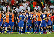 Argentina head coach Alejandro Sabella talks to his players at the end of normal time during the 2014 FIFA World Cup Final match at Maracana Stadium, Rio de Janeiro<br /> Picture by Andrew Tobin/Focus Images Ltd +44 7710 761829<br /> 13/07/2014