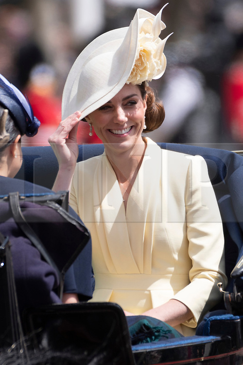 © Licensed to London News Pictures. 08/06/2019. London, UK. Catherine, Duchess of Cambridge travels to Buckingham Palace during the Trooping the Colour ceremony to mark Queen Elizabeth II's 93rd birthday. Photo credit: Ray Tang/LNP
