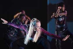 "© Licensed to London News Pictures. 18/10/2013. London, England. Pictured: Xena Gusthart. Barbican Artistic Associate ""Boy Blue Entertainment"" present the premiere of ""The Five & the Prophecy of Prana"". Choreographer Kenrick ""H2O"" Sandy and composer Michael ""Mikey J"" Asante are joined by award-winning Japanese Manga artist Akio Tanaka for a new narrative dance piece combining hip-hop, Manga and martial arts. Photo credit: Bettina Strenske/LNP"