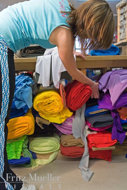 Fabrics on display at Sportees Active Wear in Whitehorse Yukon