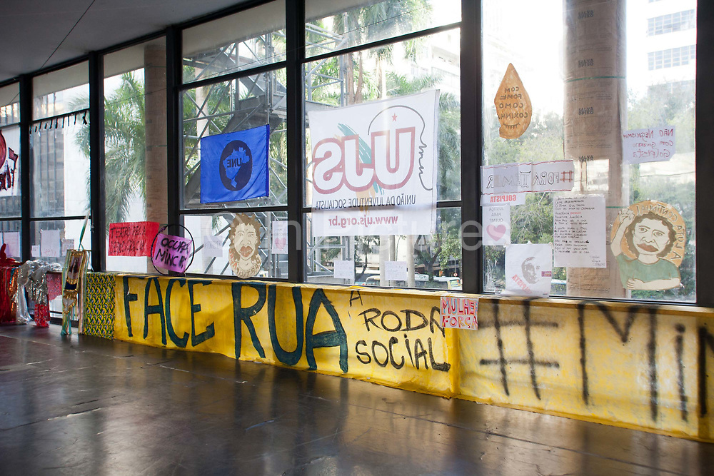 The Ministry of Culture in Rio de Janeiro has been occupied since 15th May 2016. Originally as a protest in response to the interim President Michel Temer cutting the Ministry, even though it has been re-instated, the occupation continues. Dozens of protesters are resident here, living in tents shelters inside the building. The space has been host to a multitude of self organised cultural events, from music to discussions to yoga, and even some University lecturers holding their classes here, it is a hotbed of activity.