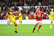 Burton Albion defender Stephen Warnock (3) controls the ball during the EFL Sky Bet Championship match between Nottingham Forest and Burton Albion at the City Ground, Nottingham, England on 21 October 2017. Photo by Jon Hobley.