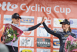 Hi-fives for Wiggle Hi5's second and third place finish at Le Samyn des Dames - Le Samyn des Dames 2016, a 113km road race from Quaregnon to Dour, on March 2, 2016 in Hainaut, Belgium.