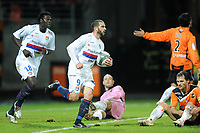 FOOTBALL - FRENCH CHAMPIONSHIP 2009/2010 - L1 - FC LORIENT v OLYMPIQUE LYONNAIS - 20/01/2010 - PHOTO PASCAL ALLEE / DPPI - JOY LISANDRO LOPEZ ATHER HIS GOAL
