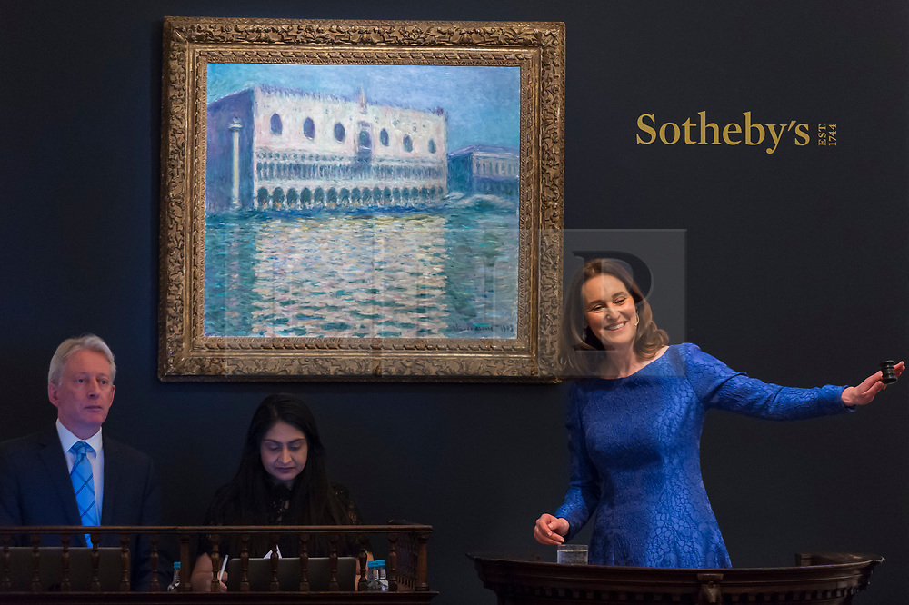 © Licensed to London News Pictures. 26/02/2019. LONDON, UK. Helena Newman is the Chairman of Sotheby's Europe and Worldwide Head of Impressionist & Modern Art manages bids for ''Le Palais Ducal'' by Claude Monet, (Est. £20,000,000 - 30,000,000) which sold for a hammer price of £24,000,000 at Sotheby's Impressionist, Modern and Surrealist Art Evening Sale in New Bond Street.  Photo credit: Stephen Chung/LNP