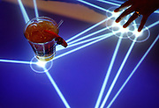 An illuminated interactive table top in the bar area is the second iBar in the nation at Metro Grill + Bar in the Hilton Anatole Hotel in Dallas, TX.