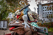 Samurai Frogs statue on Nawate Dori, a shopping street in Matsumoto, Nagano Prefecture, Japan. Matsumoto has an annual two-day Frog Festival.